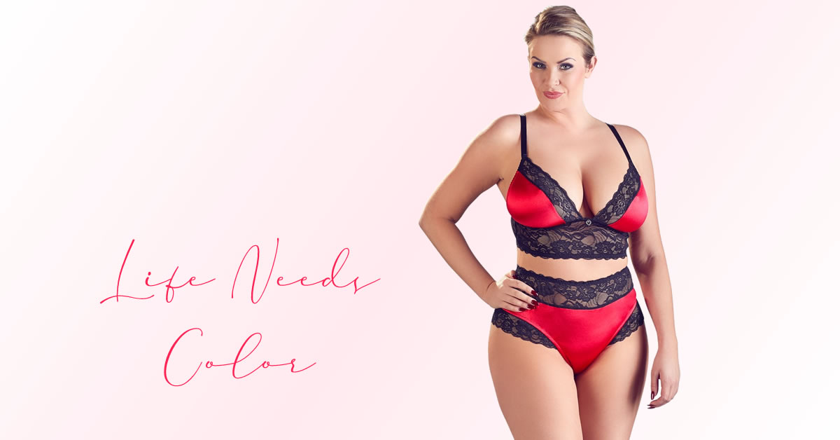 Plus Size Bralette set in Red and Black