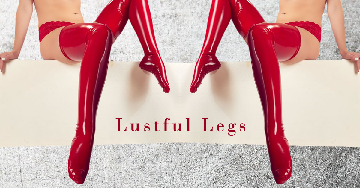 Latex Thigh Highs Red