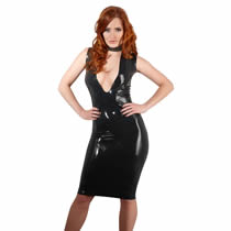 Latex dress in black