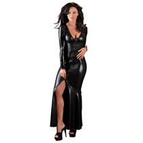 Long wetlook dress in black