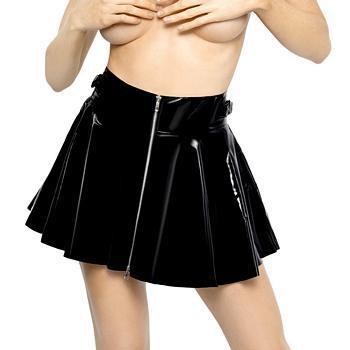 Lak nederdel i sort med lynlås