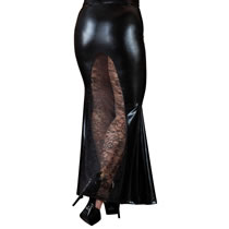 Wetlook Skirt with Lace