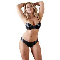 Wetlook Shelf Bra and Briefs with Zipper