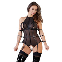 Body aus transparentem Powernet mit Wetlook-Riemen