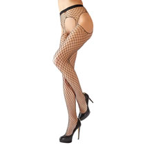Net Tights in a Suspender Look with Open Crotch