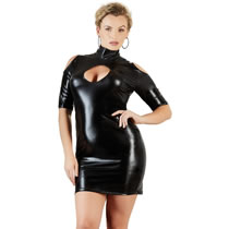 Plus Size Wetlook Kjole med Cut-Outs