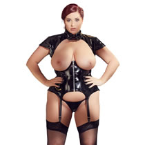 Plus Size Vinyl Basque with Open Cups