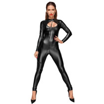 Noir Wetlook Jumpsuit with Leash