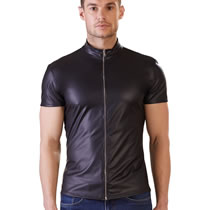 Wetlook Mens Shirt with Zip