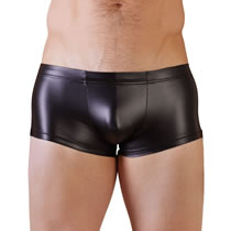 Mens Pants in Black Wetlook