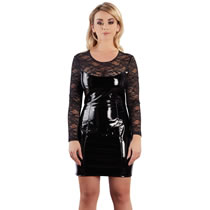 Vinyl Dress with Lace Top