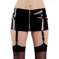 Vinyl Mini Skirt with Suspenders and Zipper