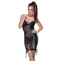 Noir Lace Dress with Wetlook and Lacing
