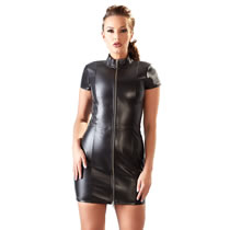 Leather Mini Dress with Zipper