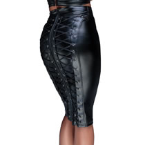 Noir Wetlook Skirt with Lacing