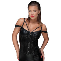 Wetlook Corsage from Noir with Cage Straps and Lace