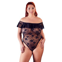 Plus Size Blonde Body med Flæsekant