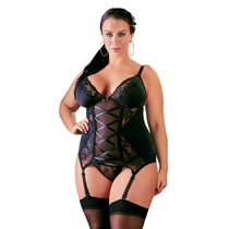 Plus Size Basque with Lace Inserts