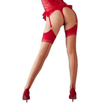 Suspender Stockings in Skin & Red