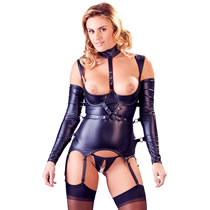 Wetlook Bondage Basque with Suspenders and Arm Restraints
