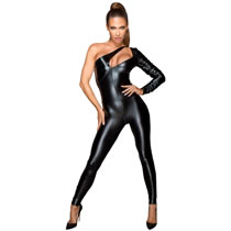 Noir Jumpsuit in Wetlook & Leather Imitation
