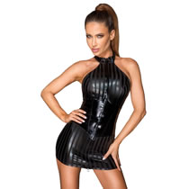 Noir Wetlook Dress with Vinyl Waist Cincher