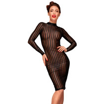 Noir Transparent Dress with Stripes
