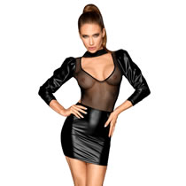 Noir Wetlook Dress with Puffed Sleeves and Transparent Top