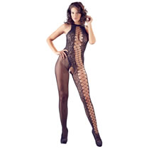 Catsuit with Asymmetric Mesh and Lace