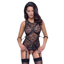 Lace Bondage Body with Cuffs and Suspenders