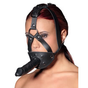 Leder-Kopfgeschirr mit Dildo