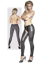Leggings in Leather and Microfiber