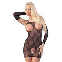 Sort Kort Blonde Catsuit