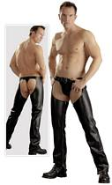 Cowboy Chaps in black leatherlook with String
