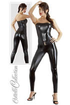 Catwoman Catsuit i Sort Wet Look