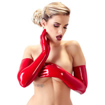 Lange Latex Handschuhe in Rot
