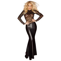 Noir Exclusive Wetlook Spitzen Kleid