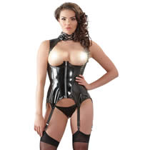 Breastfree Black Vinyl Basque with Suspenders