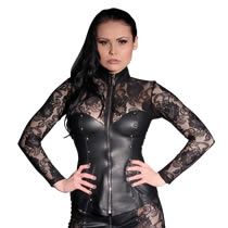 Corset Leather Jacket with Lace